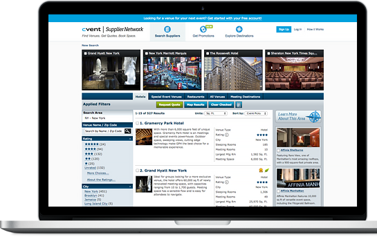 Cvent Supplier Network Home Page